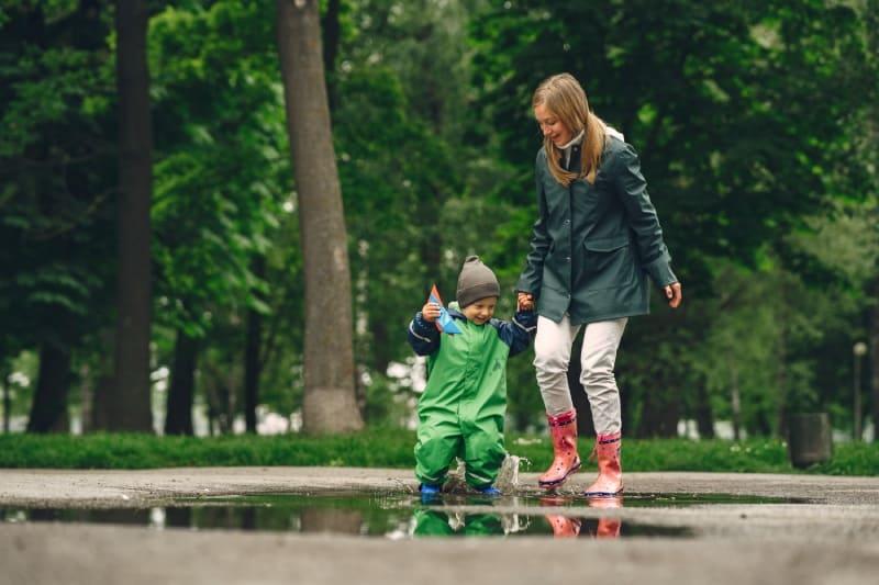 Funny Kid Rain Boots Playing Rain