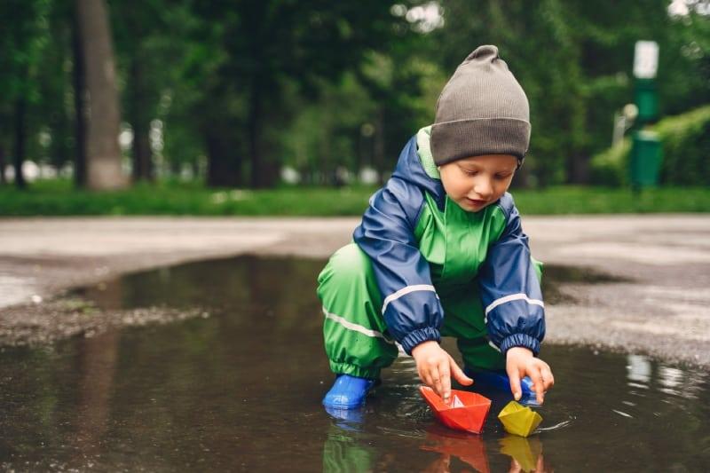 Kid Rain Boots Playing