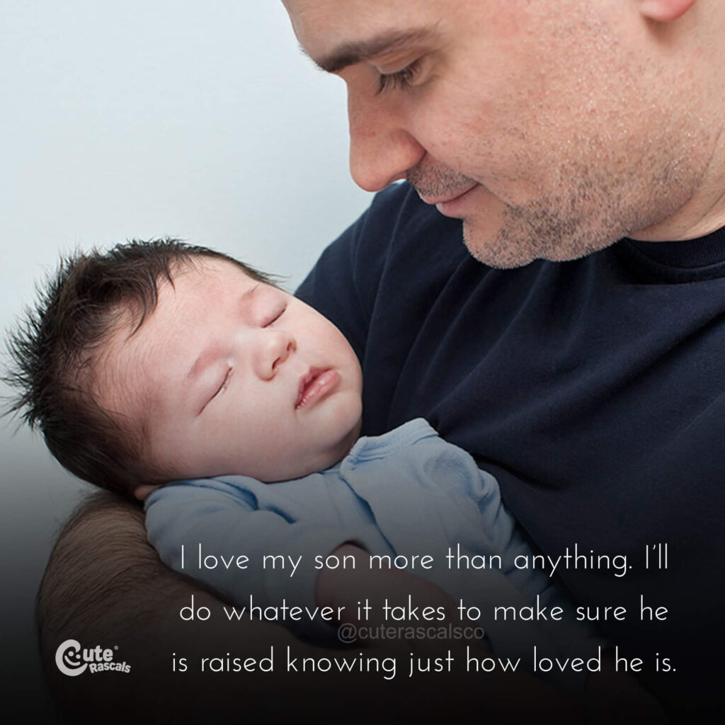 Day and baby with a loving father and son quote. Father son relationship quotes