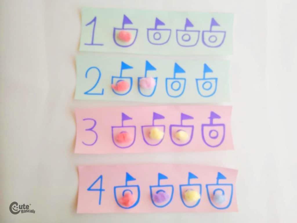 Result of boat number activities for preschoolers