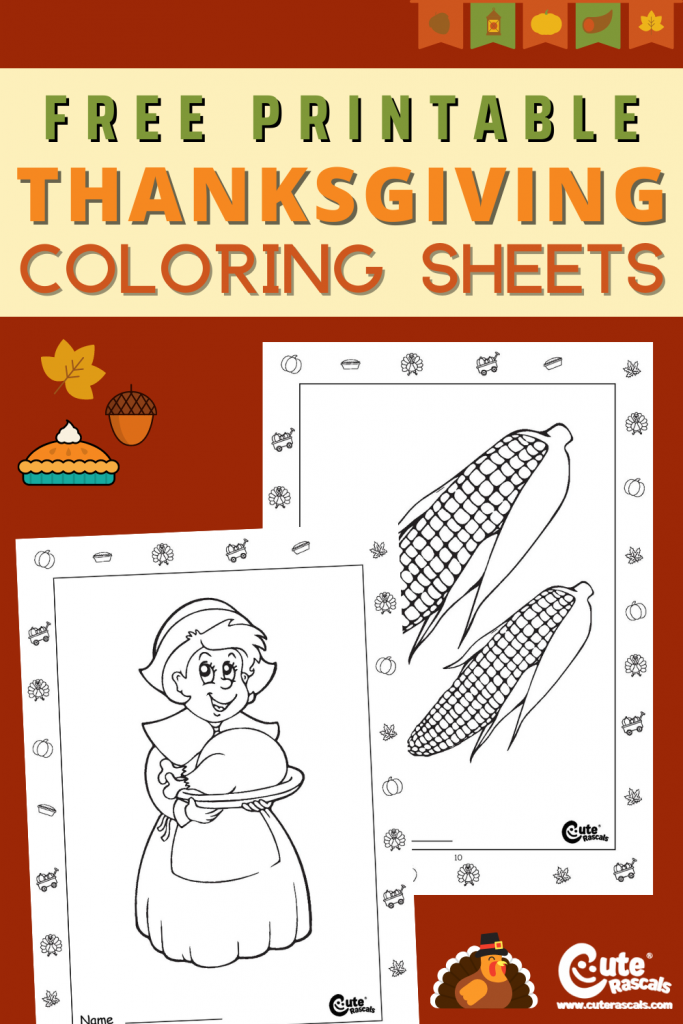 20 pages of free printable Thanksgiving coloring pages for kids.