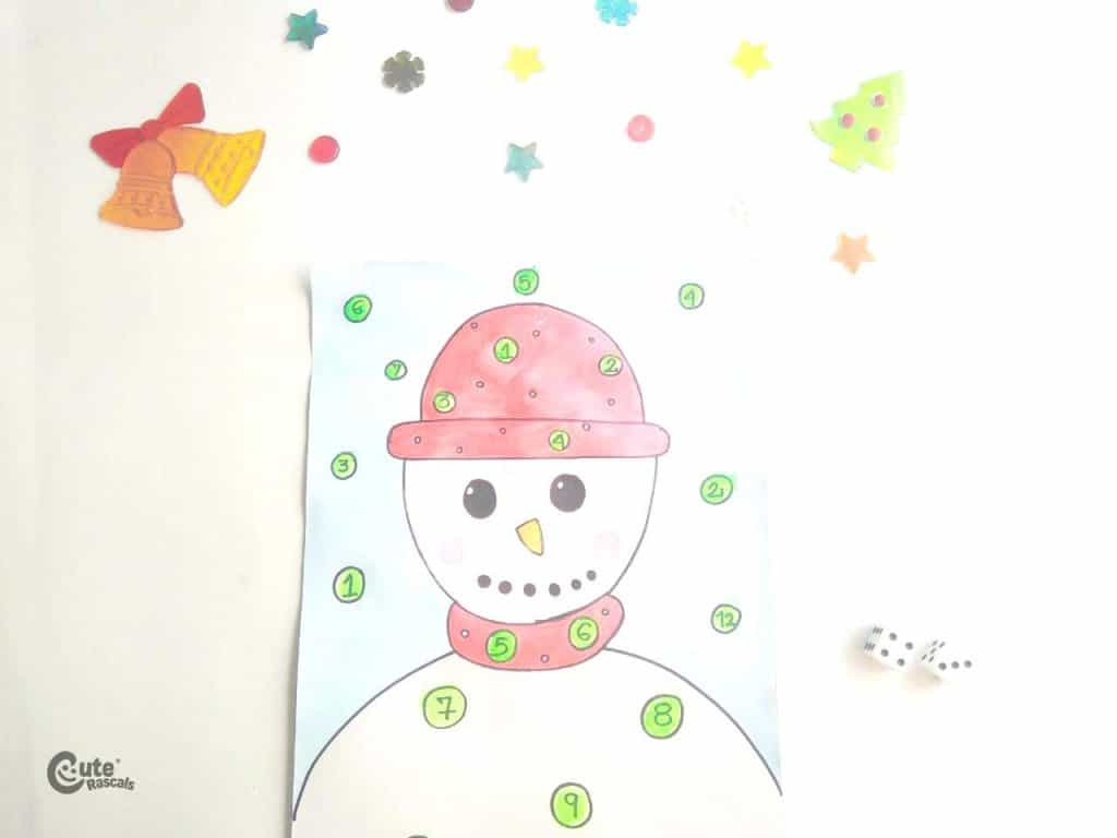 Result of snowman and dice fun Math games for kids