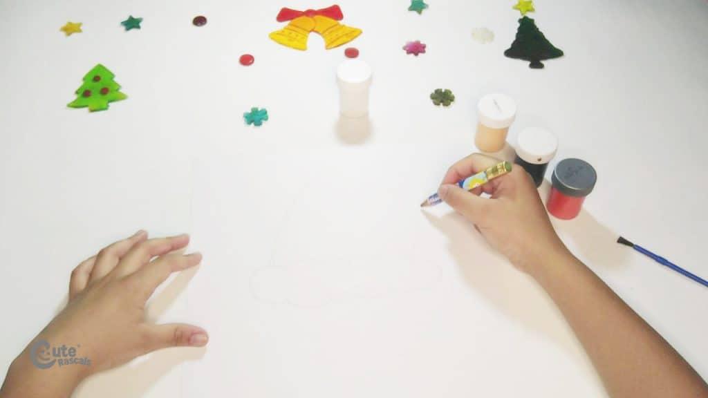 Step 1 for Santa Claus art for kindergarten