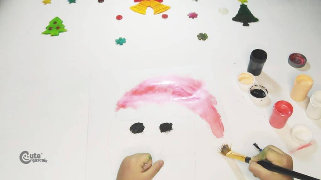 Step two of Santa Claus drawing activity