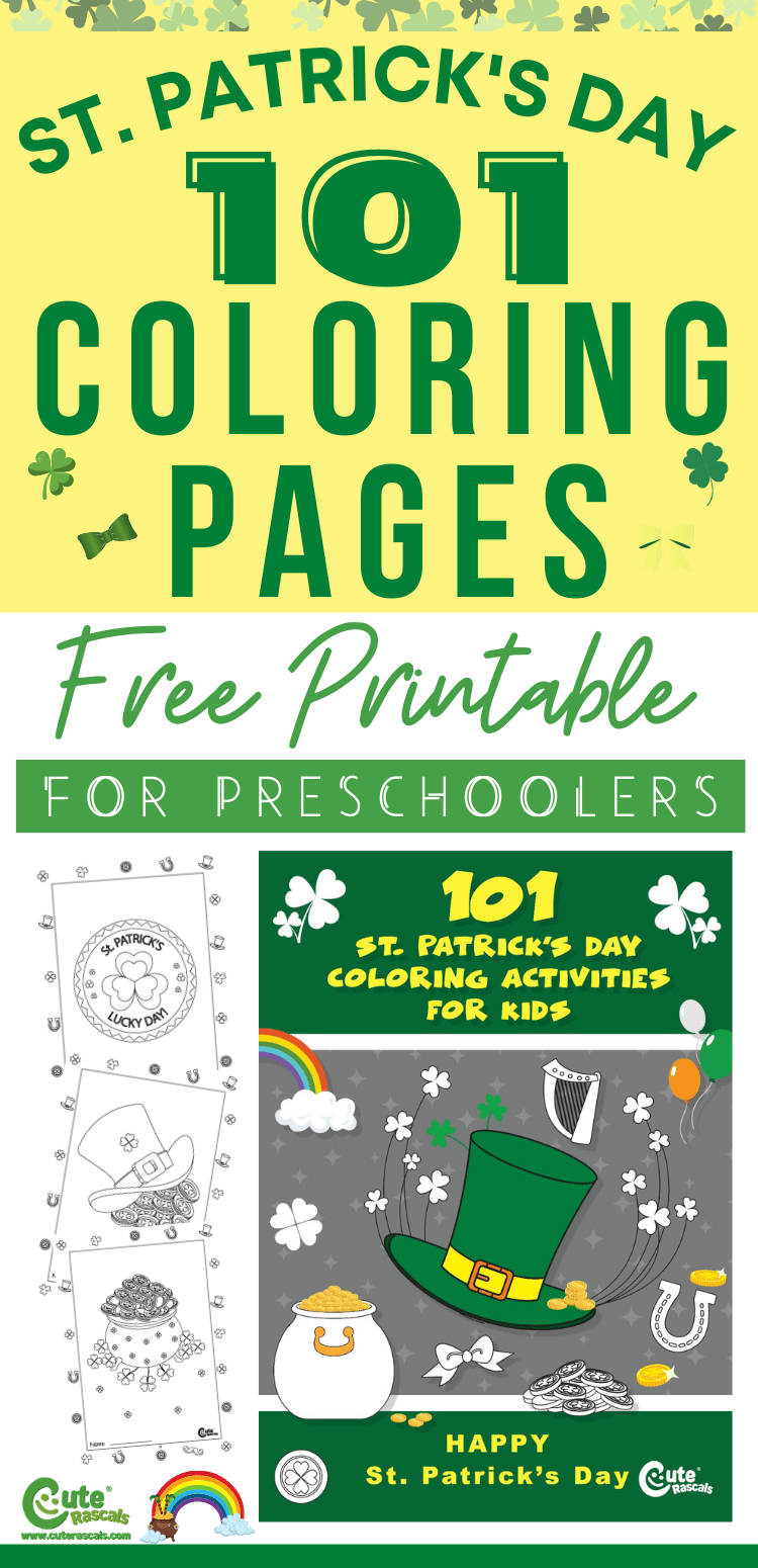 Free printable St. Patrick's Day coloring worksheets for preschoolers