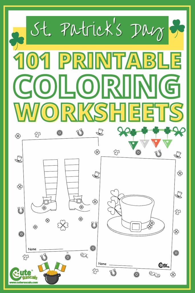 St. Patrick's day worksheets for kindergarten