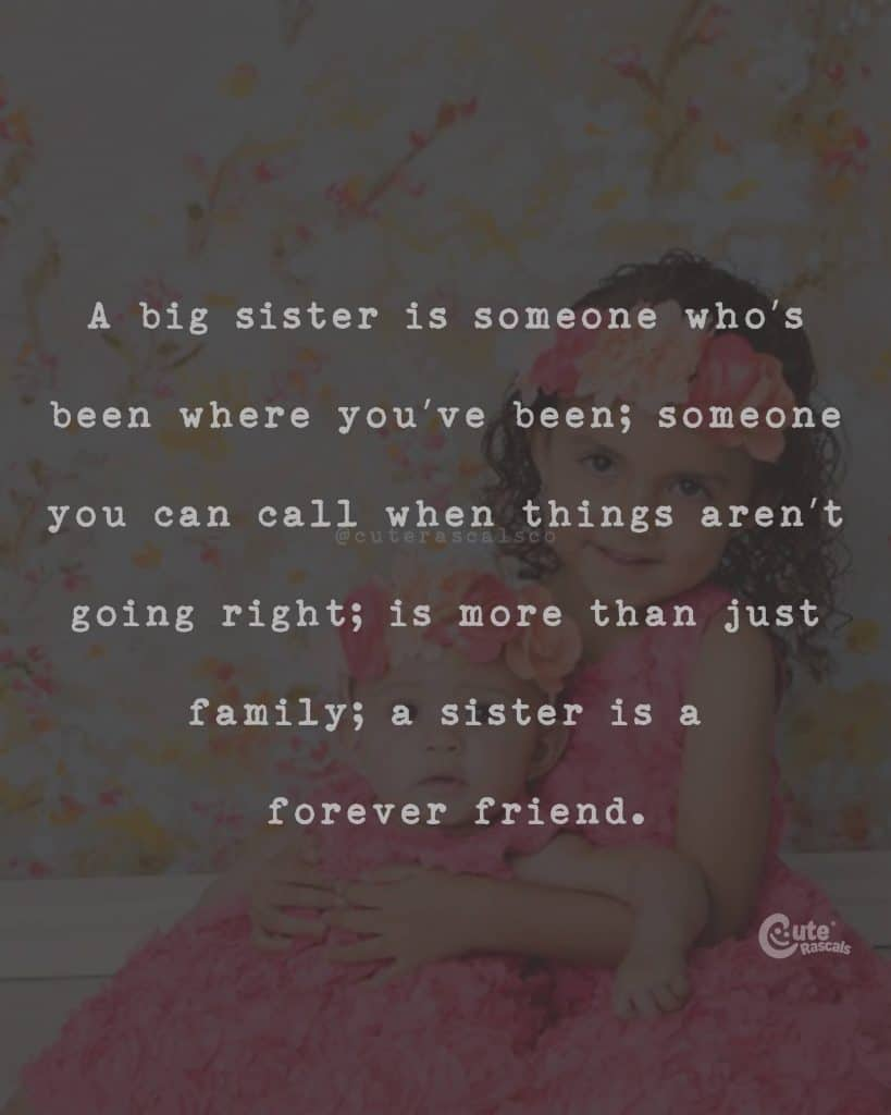 A big sister is someone who's been where you've been; someone you can call when things aren't going right; is more than just family; a sister is a forever friend