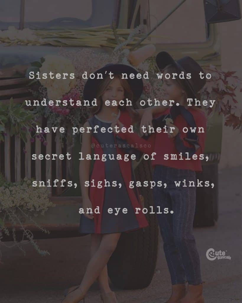 Sisters don't need words to understand each other. They have perfected their own secret language of smiles, sniffs, sighs, gasps, winks, and eye rolls
