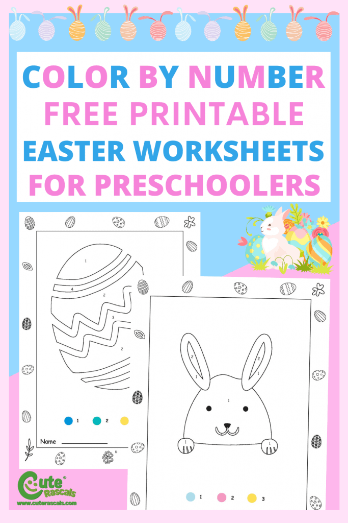 Easter color by number worksheets