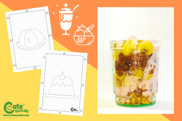 Fun parfait dessert recipe kids can make with free printable worksheets for 2-4 year olds.