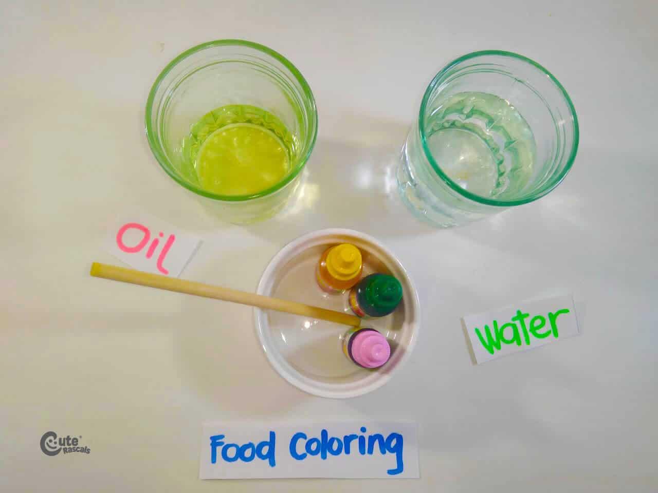Materials for Dr. Seuss' preschool science experiment