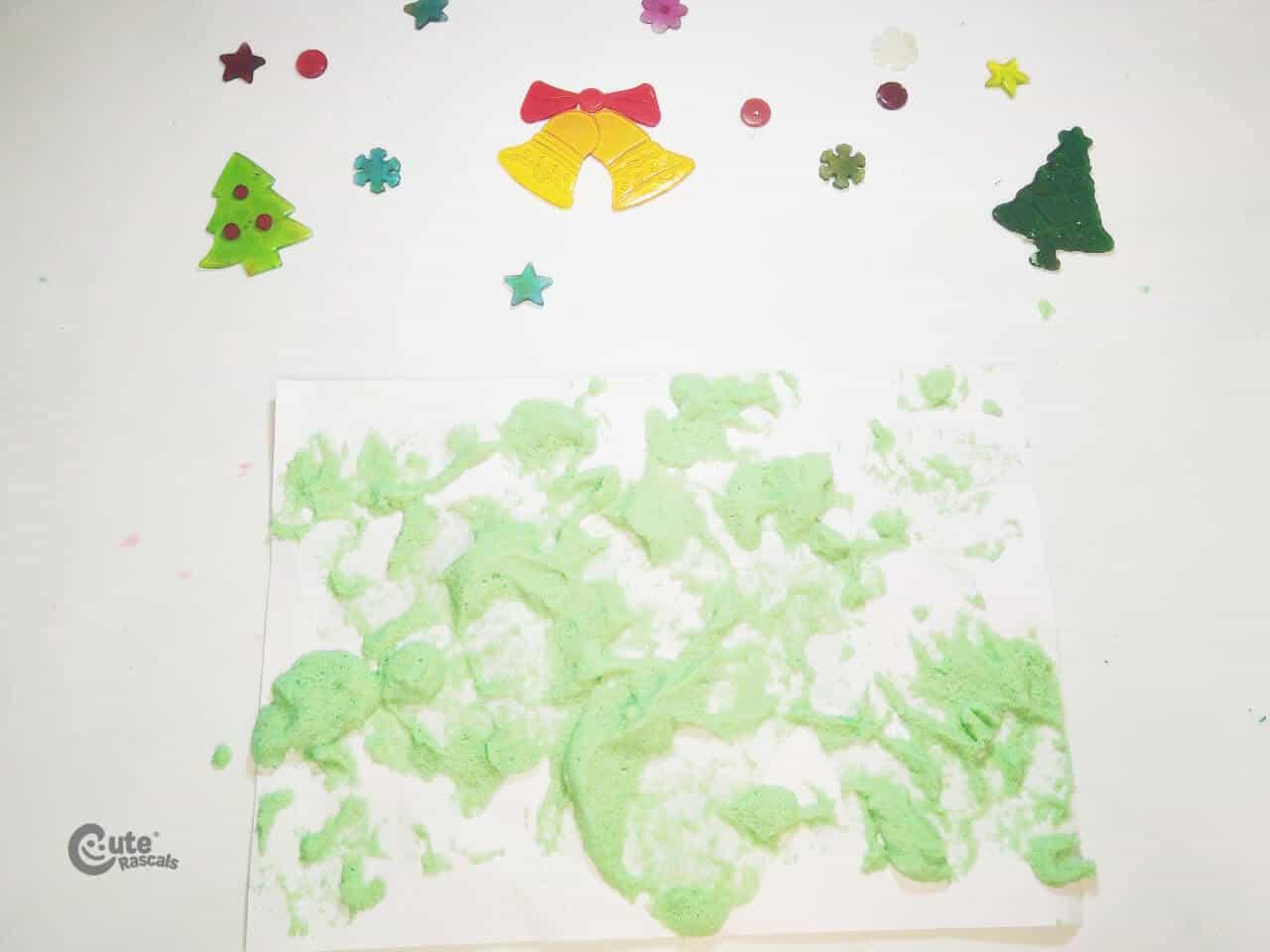 Scrawls with green foam