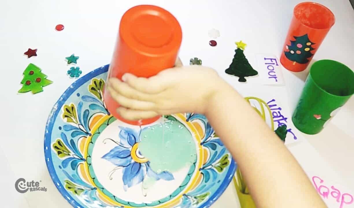 Pour the liquid soap. Christmas painting idea for kids