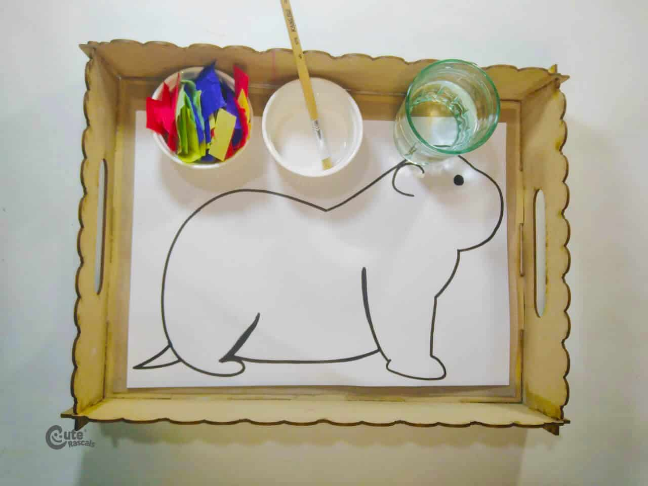 Materials for Groundhog Art Made With Water