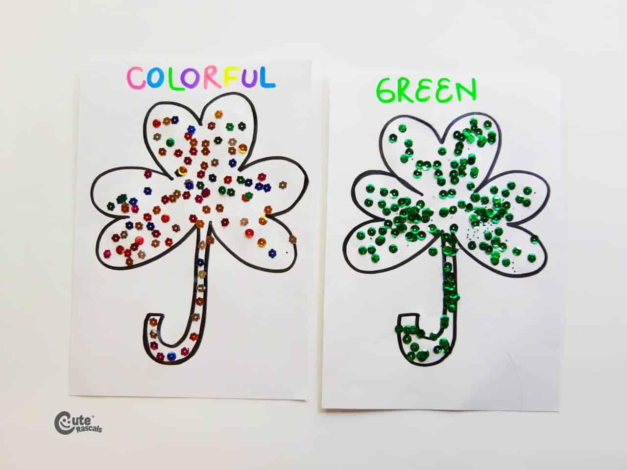 Decorating clovers different motor skills activity. Fine motor skills for preschoolers