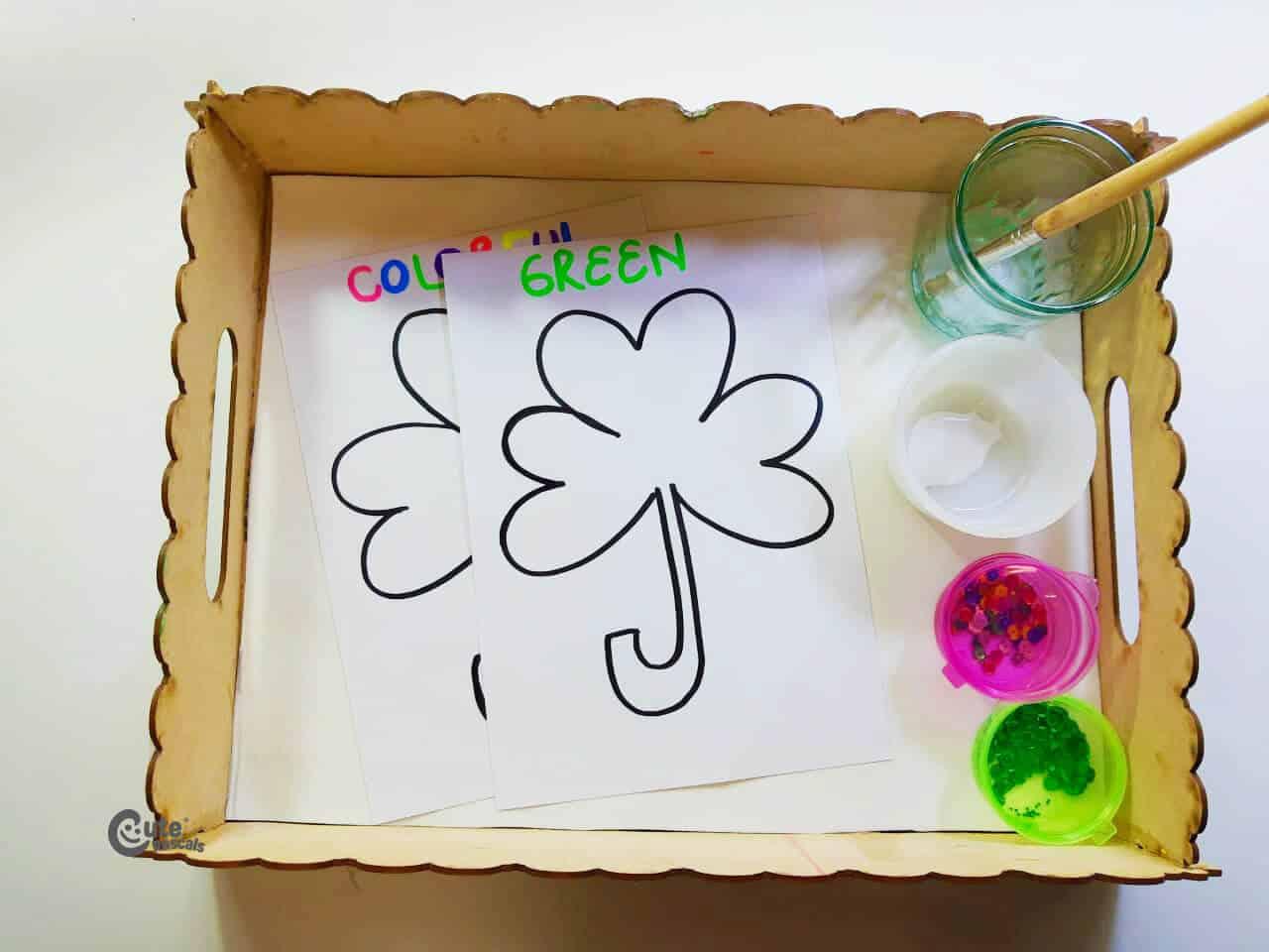Materials Sequined Clover Activity. For fine motor skills for preschoolers
