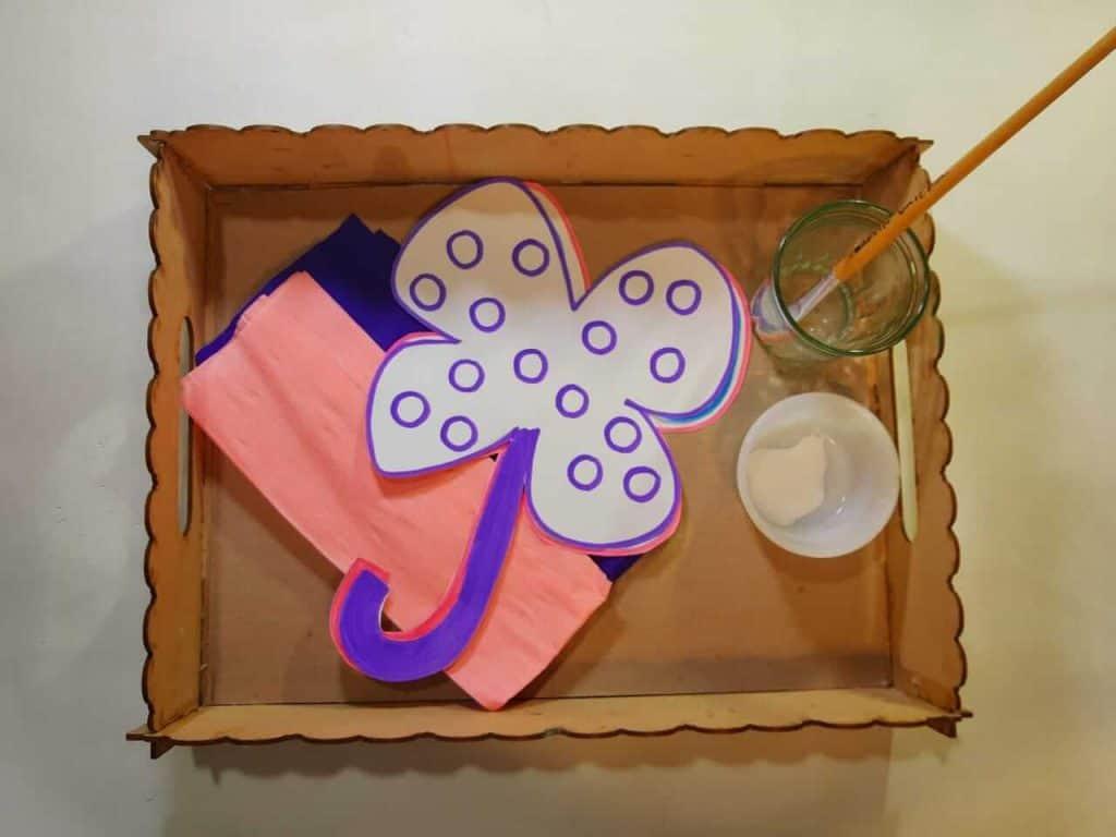 Materials Clover With Little Paper Balls fine motor activities for kids