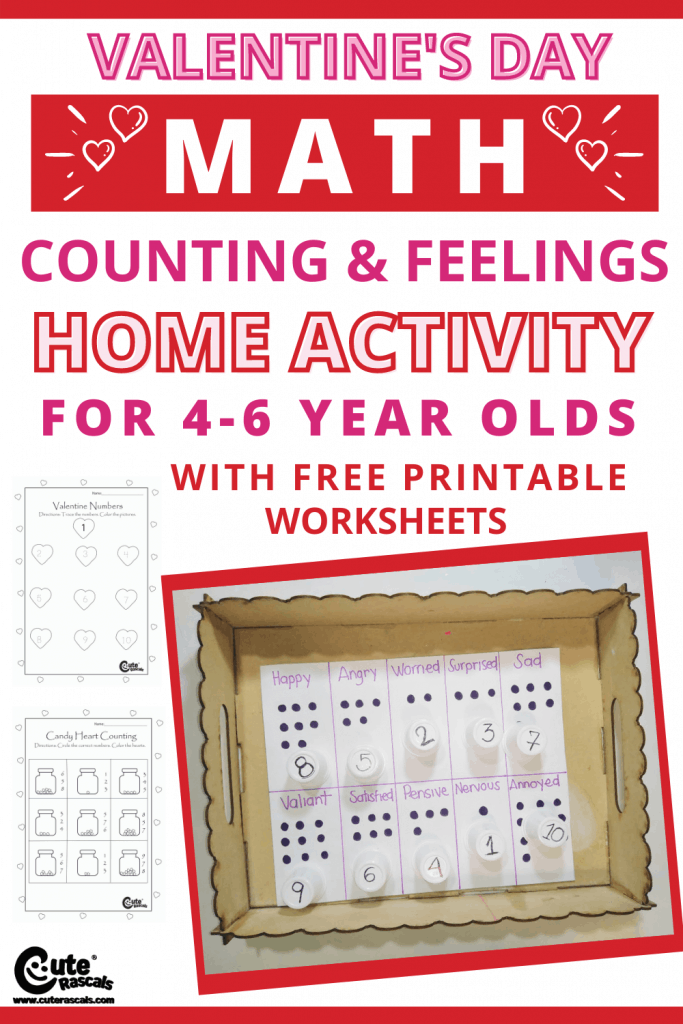 Help kids learn about counting and feelings. Math is fun with this numbers home activity for kids. This Valentine's day crafts come with free printable worksheets.