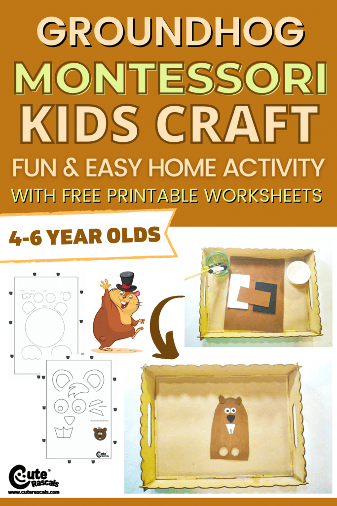 Fun and easy groundhog kids crafts. A fun Montessori craft with free printable worksheets.