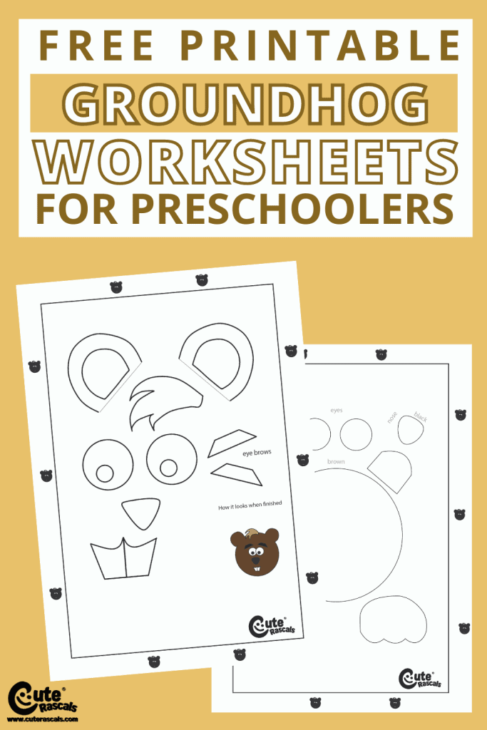 Free printable groundhog kids craft worksheets