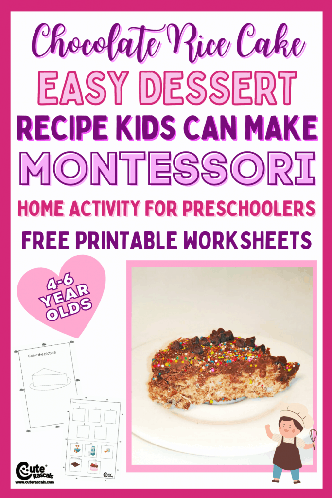 Chocolate rice cake recipe that kids can make. Yummy dessert recipe for kids with free printable worksheets. A fun Montessori activity.