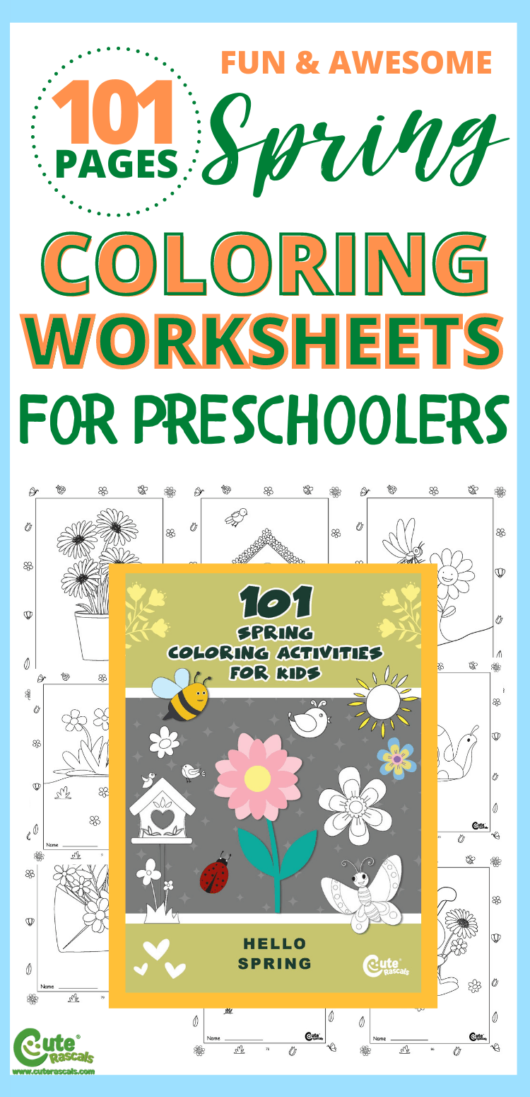 101 pages of Free printable spring time coloring pages for preschoolers.