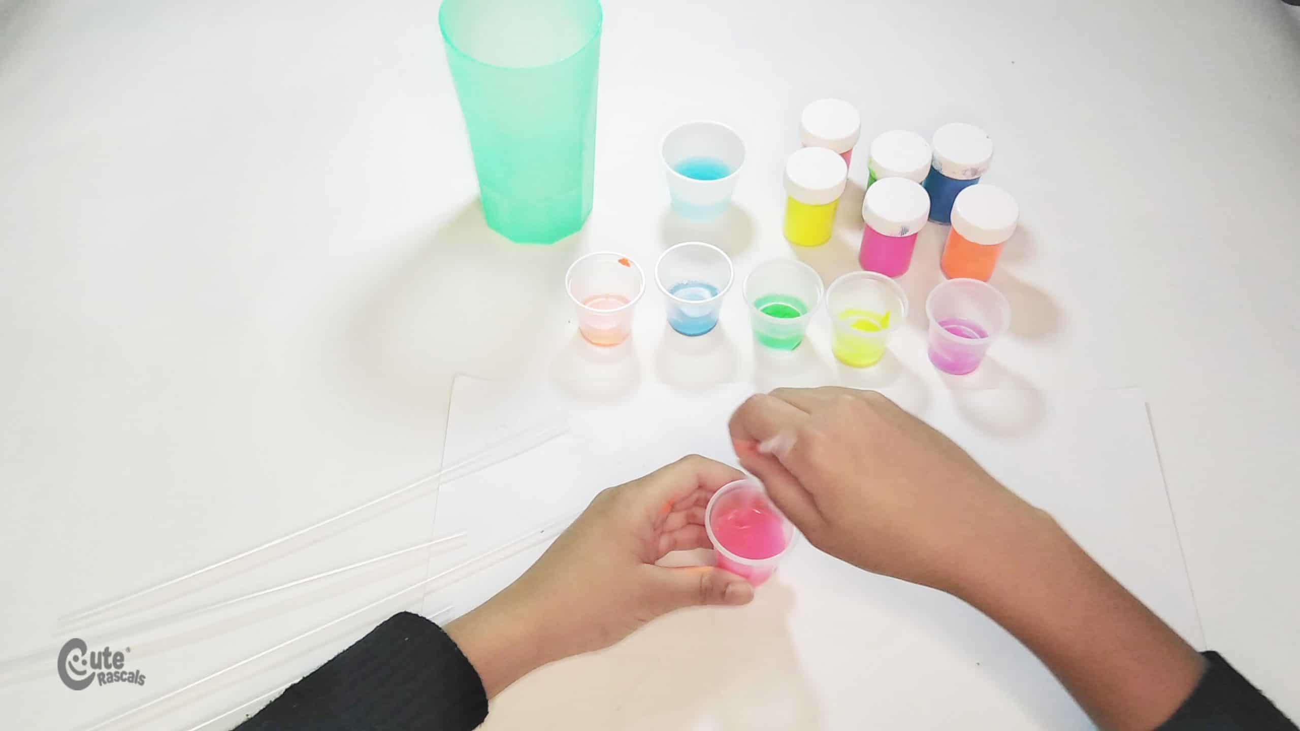 Mix the ingredients. Kids sensory activity