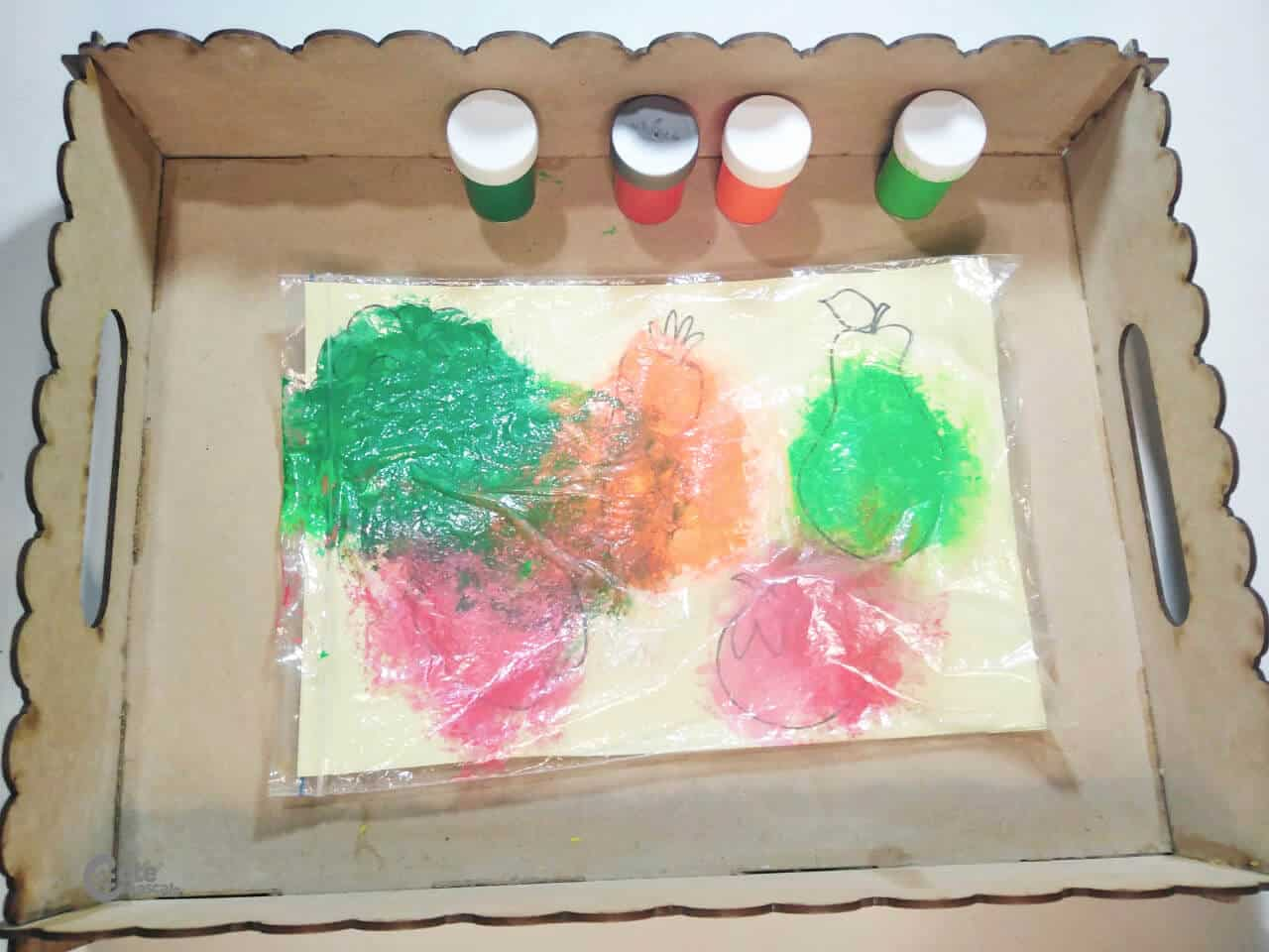 sensory bag of paint with healthy food