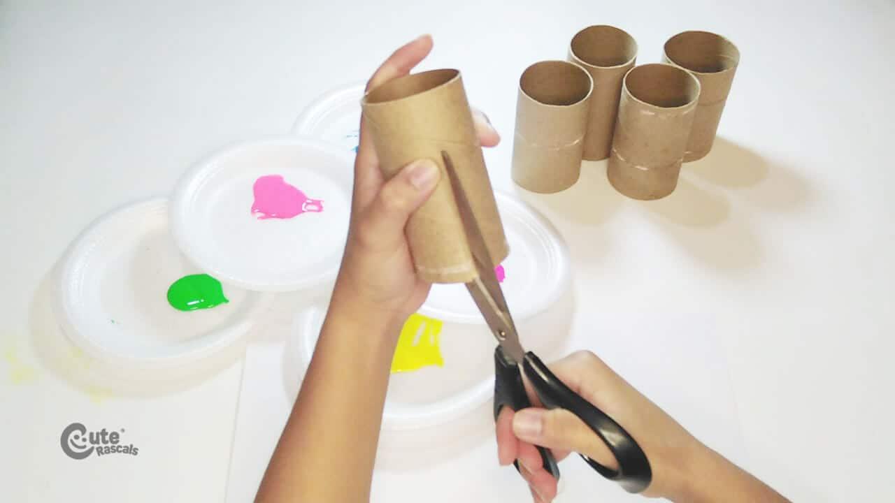Cut the Paper rolls tube. Easy art activity
