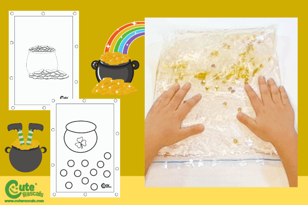 St. Patrick's Day Golden Sensory Bags for Kids with Worksheets (1-2 Year Olds)