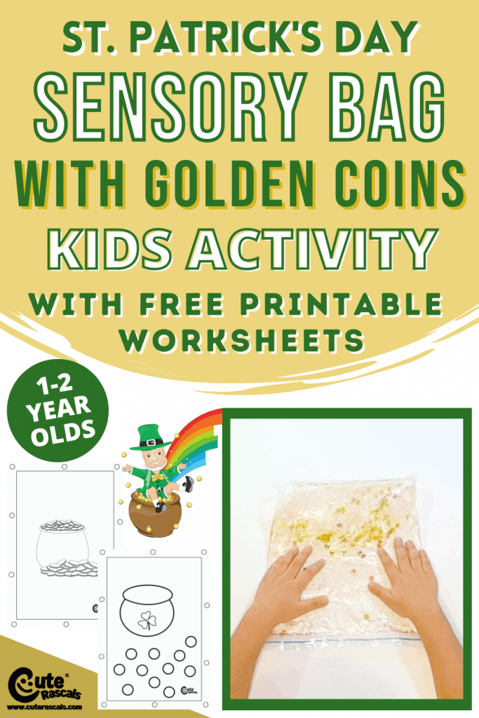 Sensory bags kids activity for St. Patrick's Day with free printable worksheets.