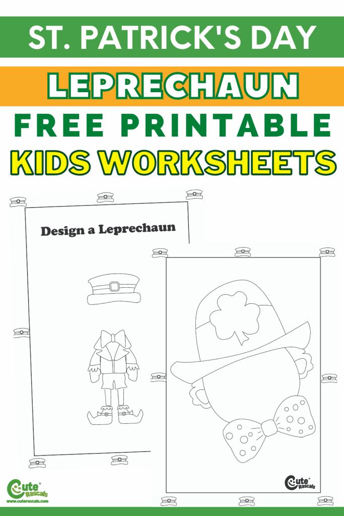 Free printable leprechaun worksheets for the chalk art for kids activity.