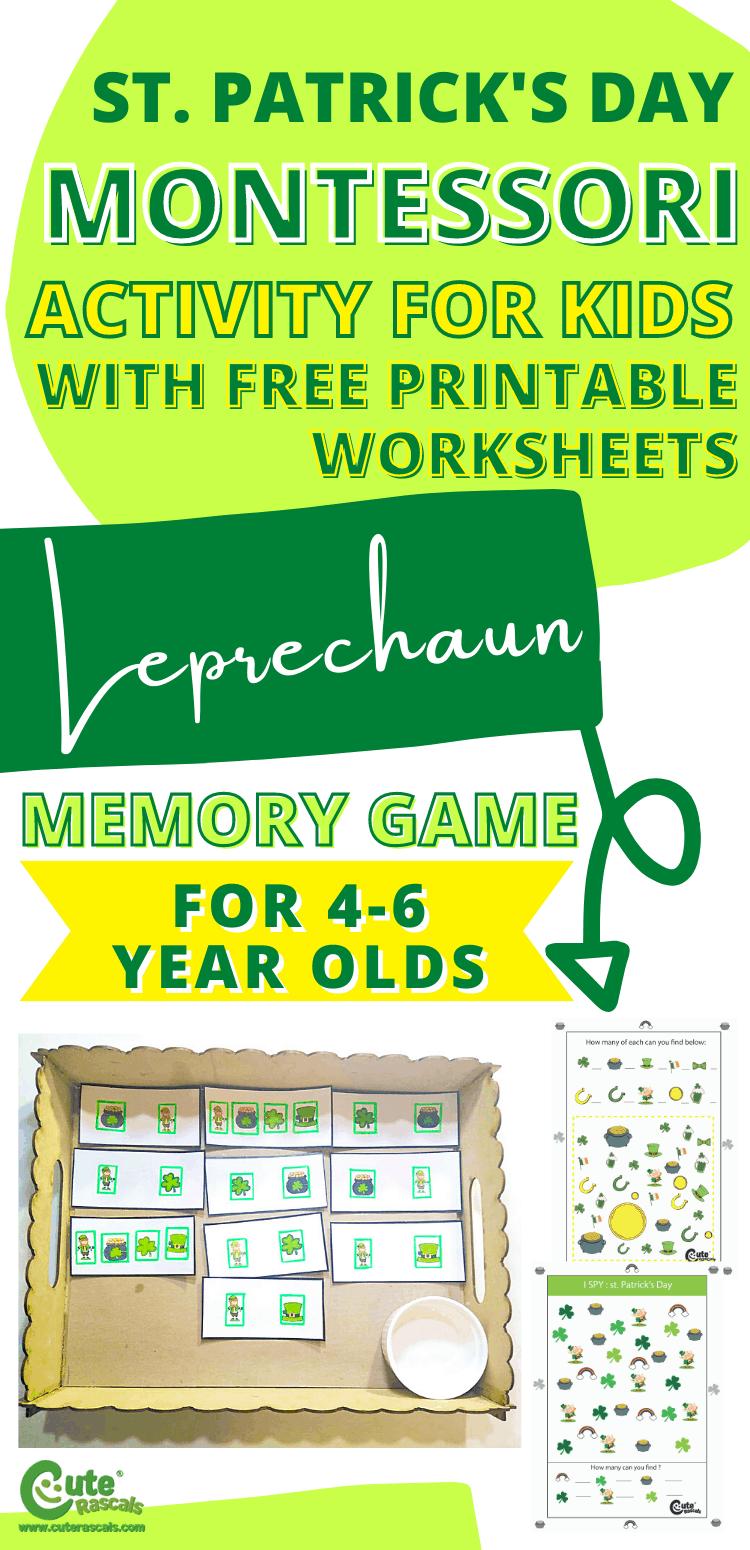 Fun St. Patrick's Day leprechaun memory game activity for preschoolers.