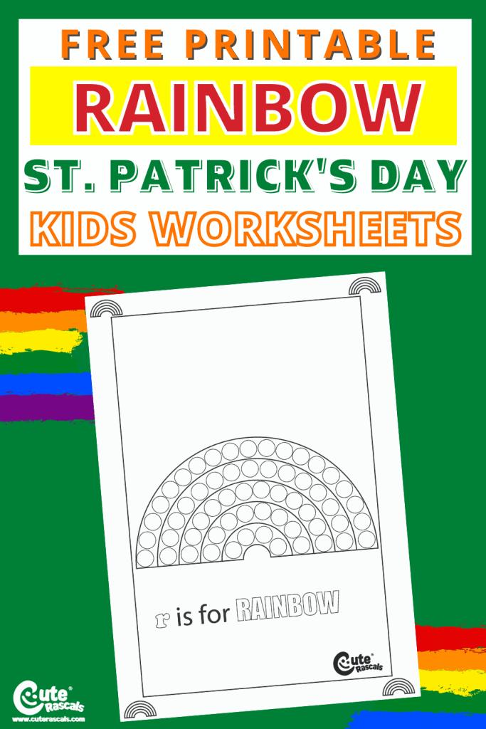 Free printable rainbow worksheet for preschoolers