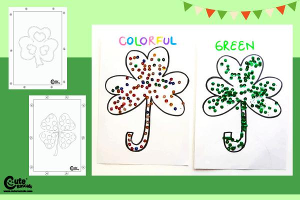 Shining Shamrocks Craft Fine Motor Skills for Preschoolers Montessori Worksheets (4-6 Year Olds)