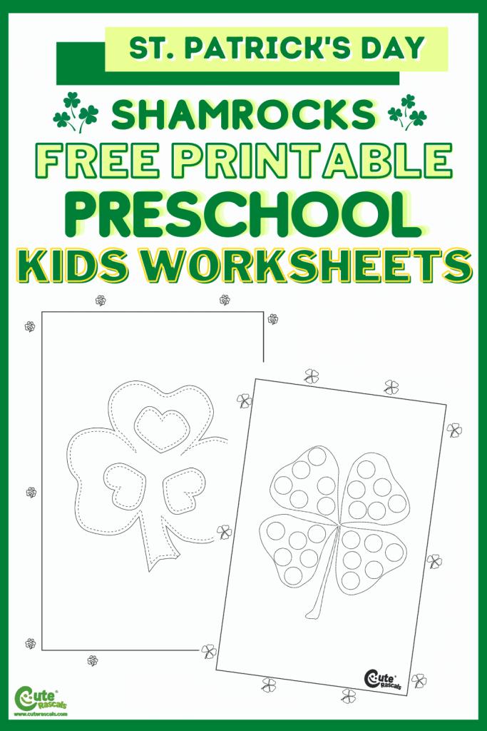 Free printable shamrocks worksheets. Fine motor skills for preschoolers