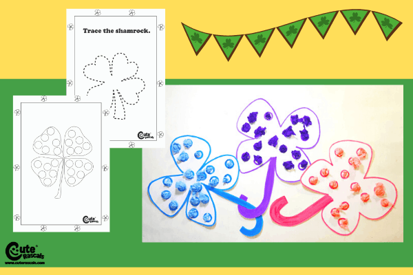 Decorate the Shamrocks Fine Motor Activities for Kids Montessori Worksheets (4-6 Year Olds)