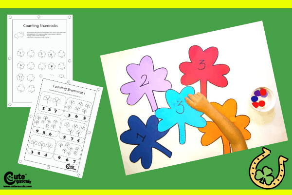Counting Games for Kids with Shamrocks and Pom-Poms Montessori Worksheets (4-6 Year Olds)