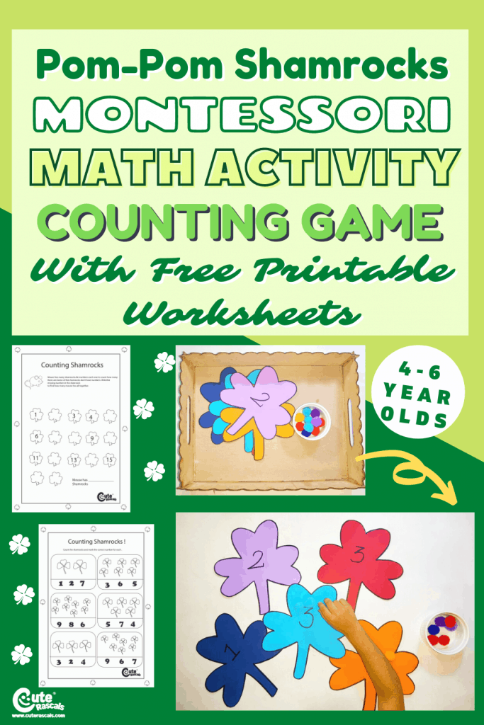 Fun counting games for kids for St. Patrick's Day. With free printable worksheets