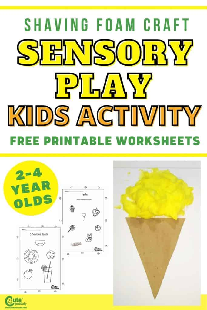 Using 4 Senses for the Shaving Foam Craft Sensory Activities for Preschool with Free Printable Worksheets
