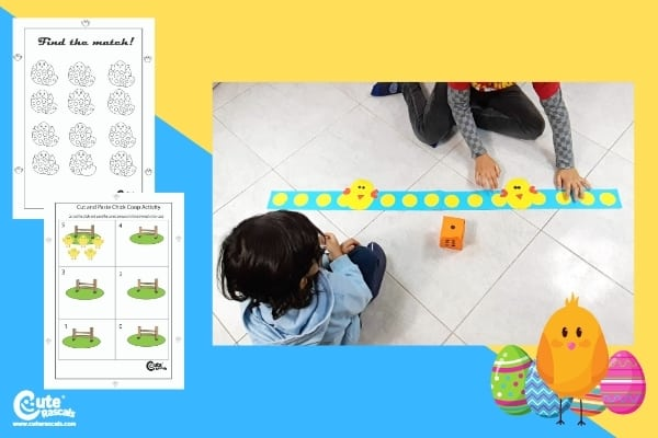 Easter Chick Steps Math Activity for Preschoolers (4-6 Year Olds)