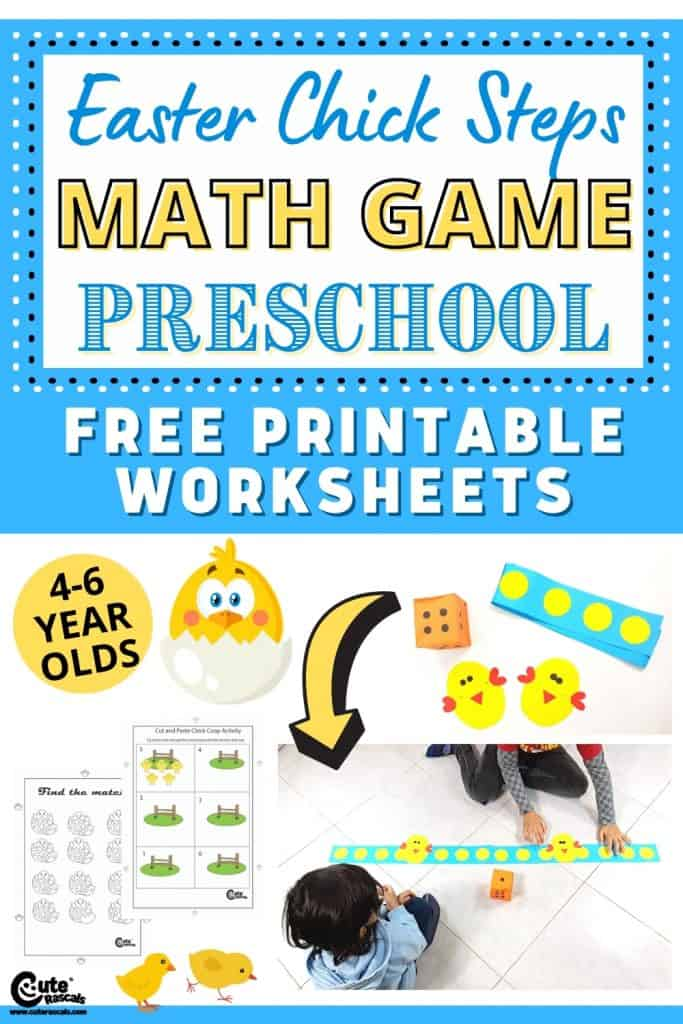 Chick steps. Fun Easter math activity for preschoolers with free printable worksheets