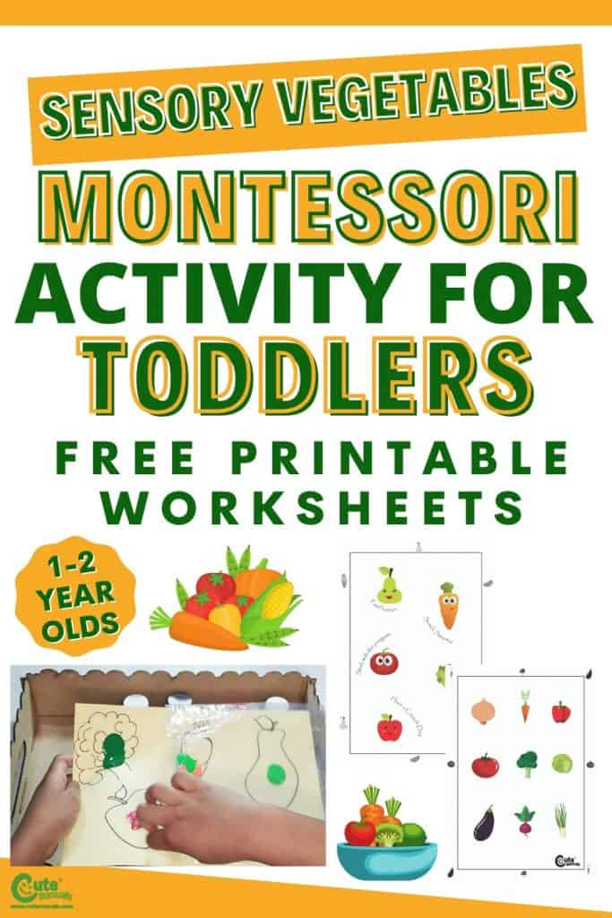 Vegetables sensory play for toddlers. Arts and crafts for toddlers Montessori activity.