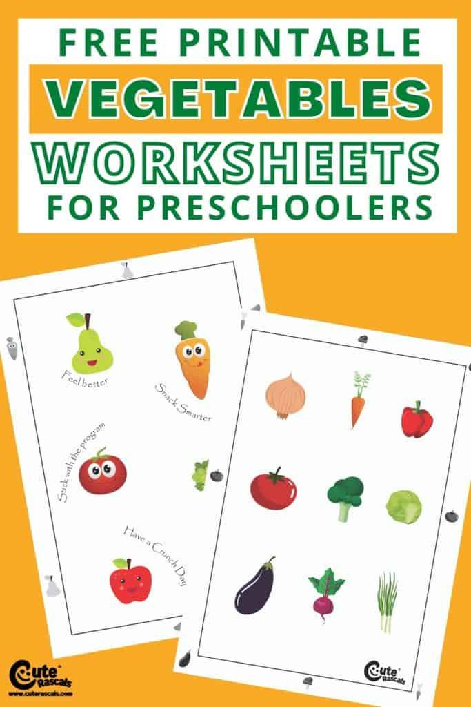 Free printable vegetables worksheets for toddlers