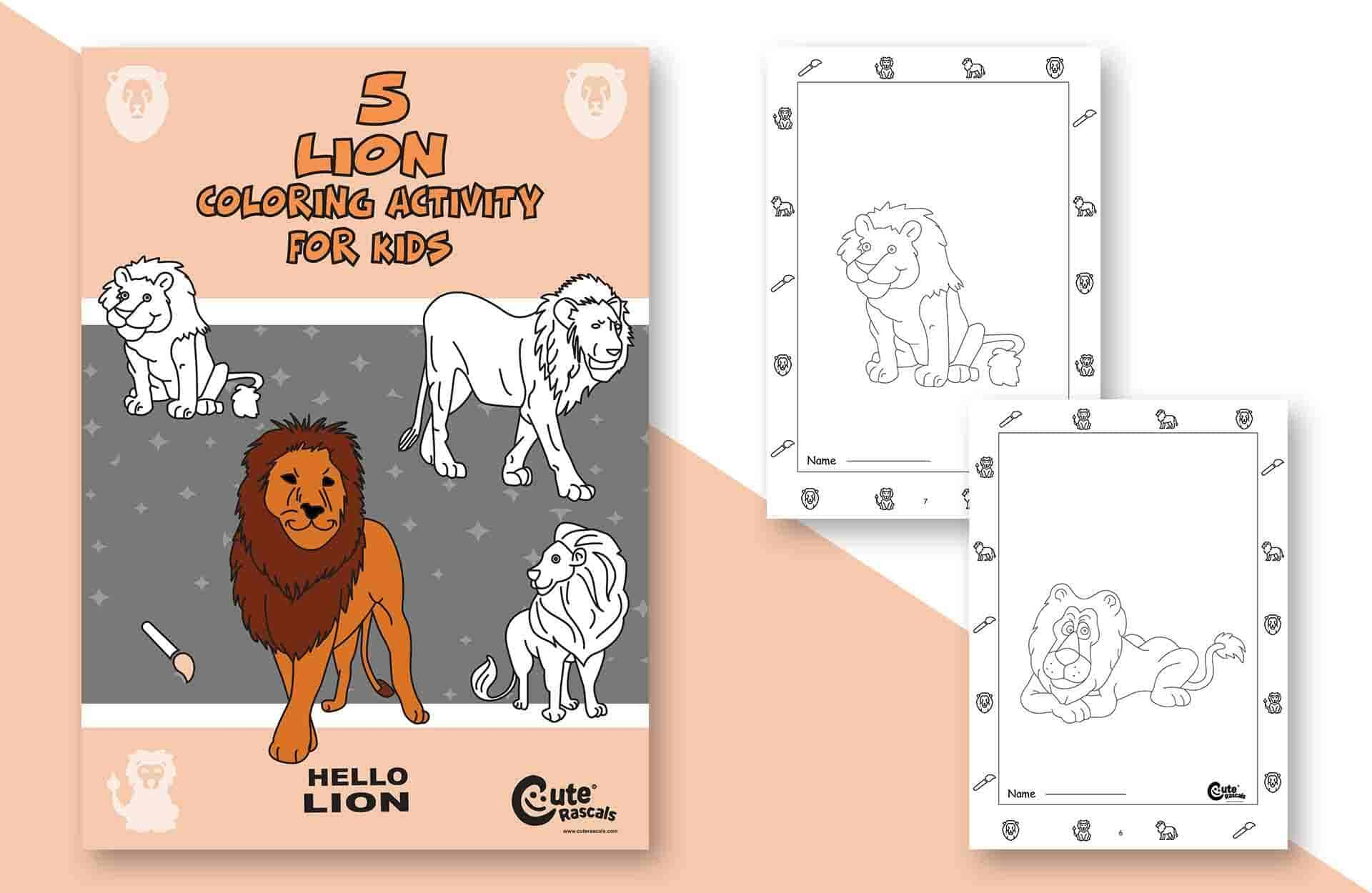 Easy 5 Lion Coloring Pages for Kids: Print and Color!