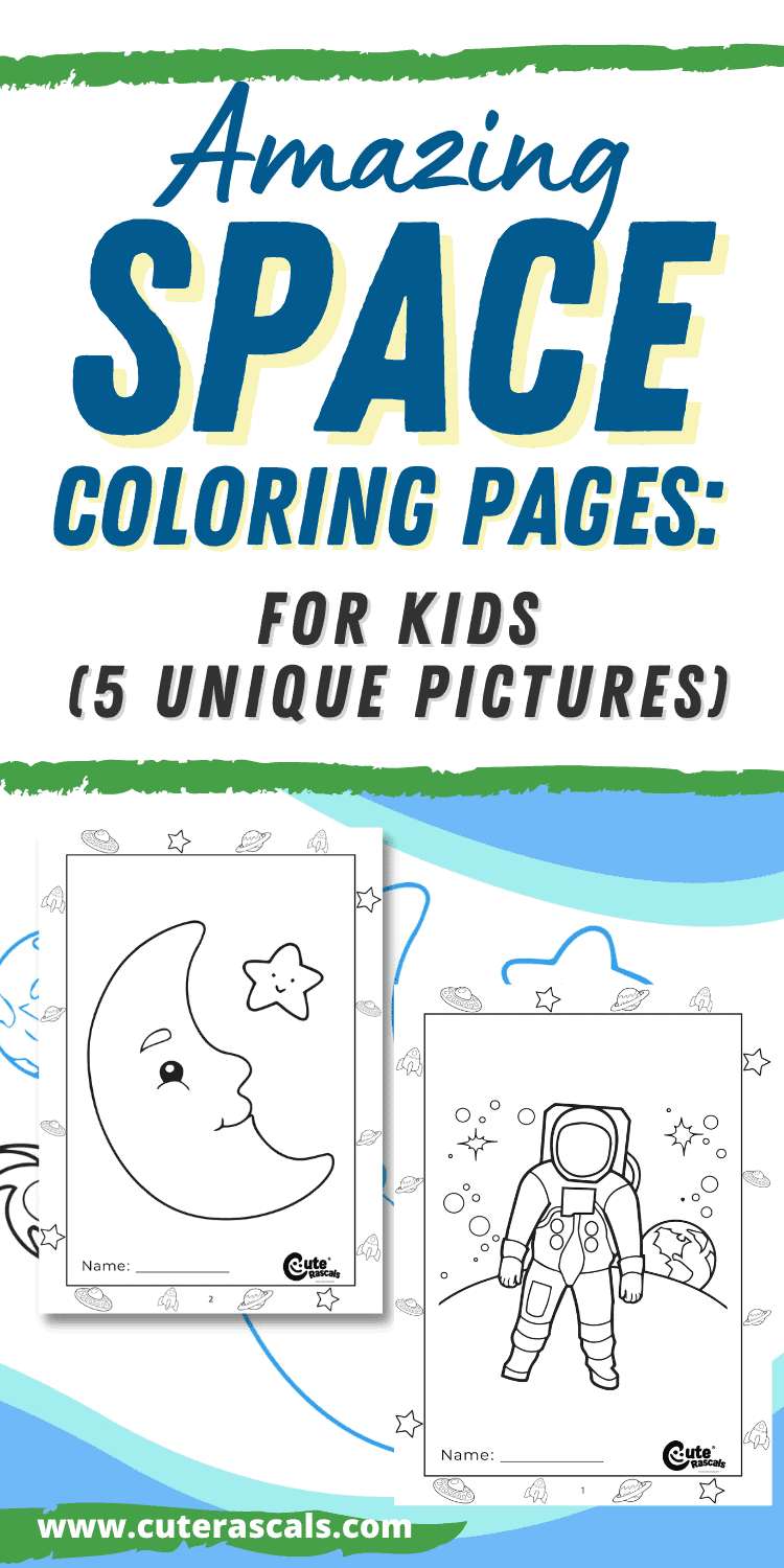 Amazing Space Coloring Pages for Kids (5 Unique Pictures)