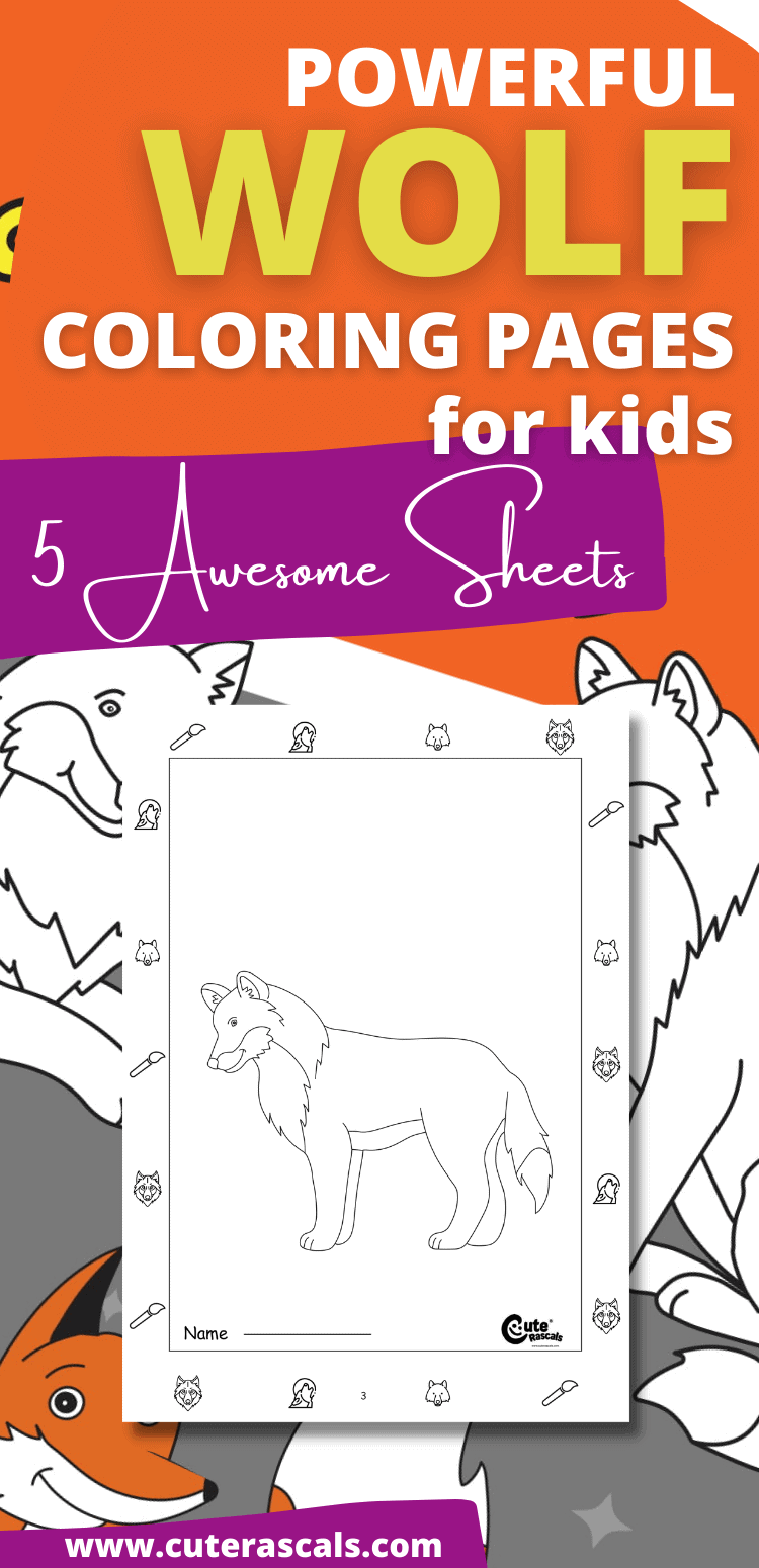 Powerful Wolf Coloring Pages For Kids: 5 Awesome Sheets