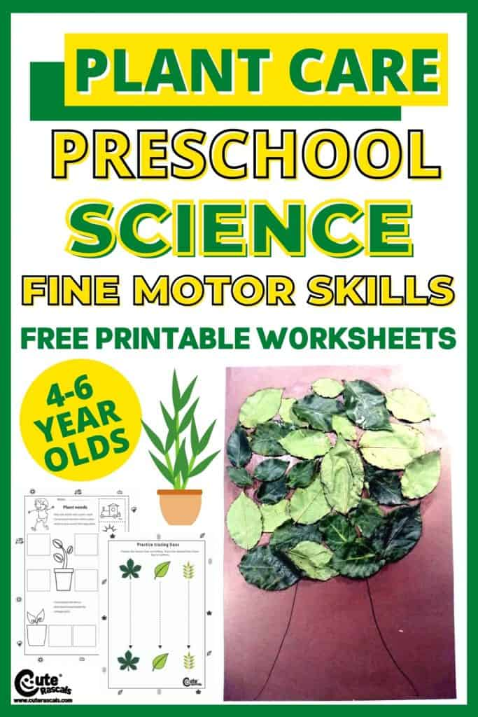 Taking care of plants activity with free printable worksheets. Fine motor skills development for preschoolers.