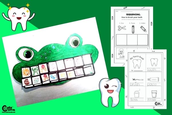 Smiling Frog Dental Care Math Activity for Preschoolers Worksheets (4-6 Year Olds)