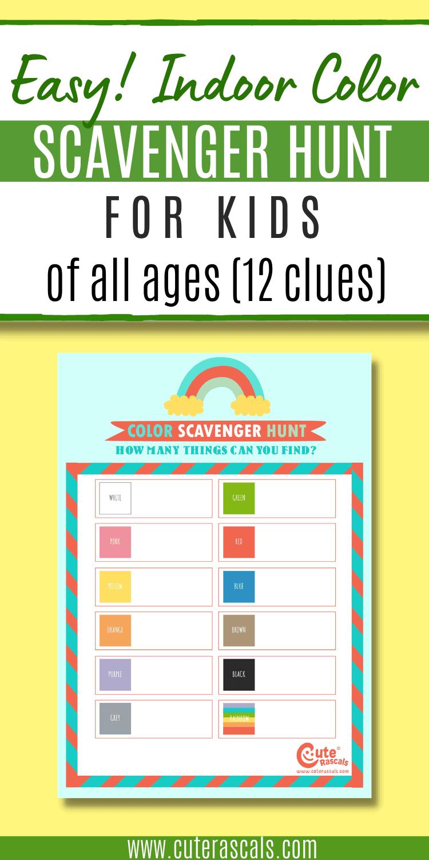 Simple Indoor Color Scavenger Hunt For Kids of All Ages
